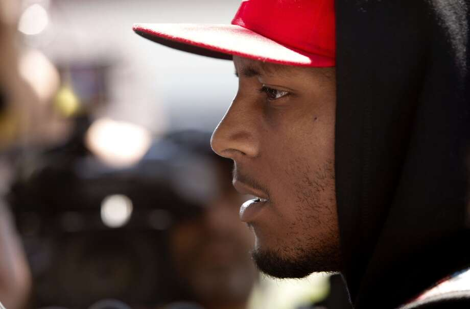 Wide receiver Stevie Johnson, (13) talks with the news media as the San Francisco 49ers' veterans reported to training camp today for the 2014 season at their practice facility in Santa Clara, Calif., as seen on Wednesday July 23, 2014. Photo: Michael Macor, The Chronicle