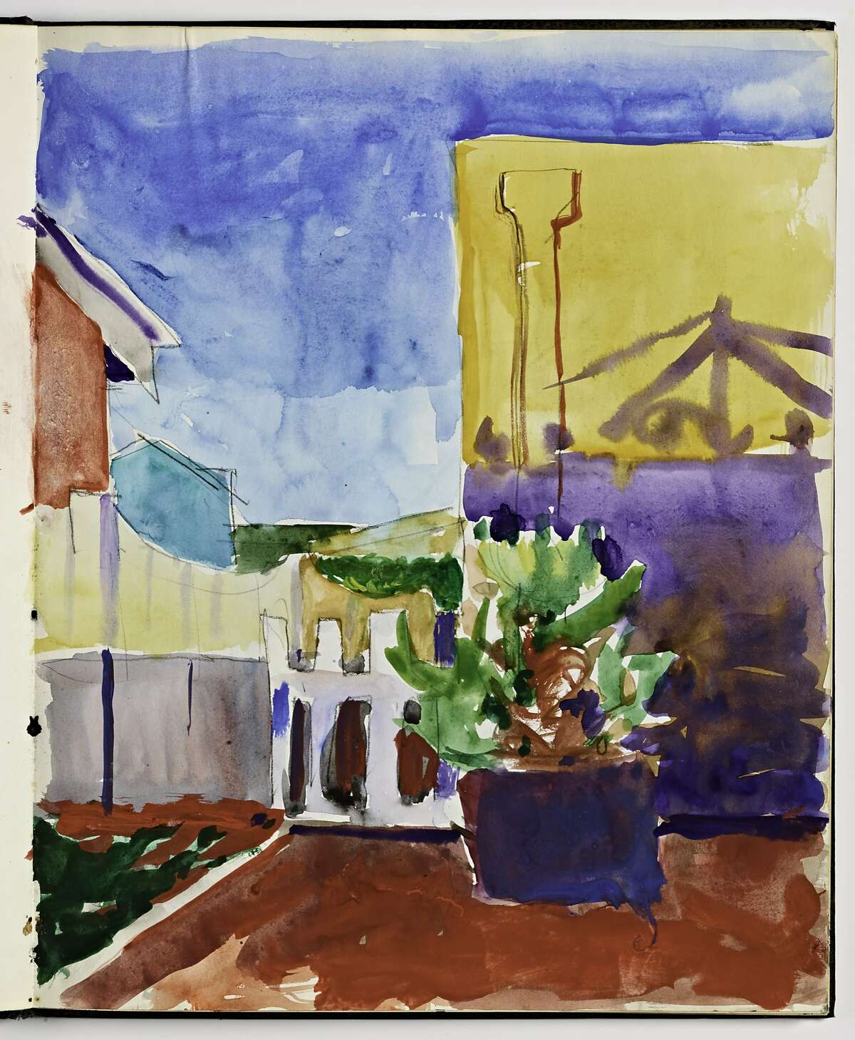 Untitled (Potted plant with buildings), (c. 1955-1967) Watercolor and graphite on paper by Richard Diebenkorn