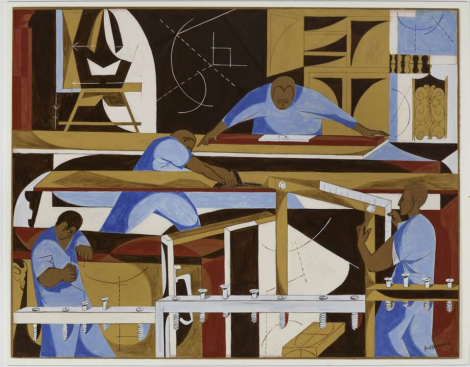 """Construction"" (1952), casein tempera over graphite on paperboard by Jacob Lawrence is among 26 of his works donated to Stanford's Cantor Arts Center. Photo: Unknown, Cantor Arts Center, Stanford"