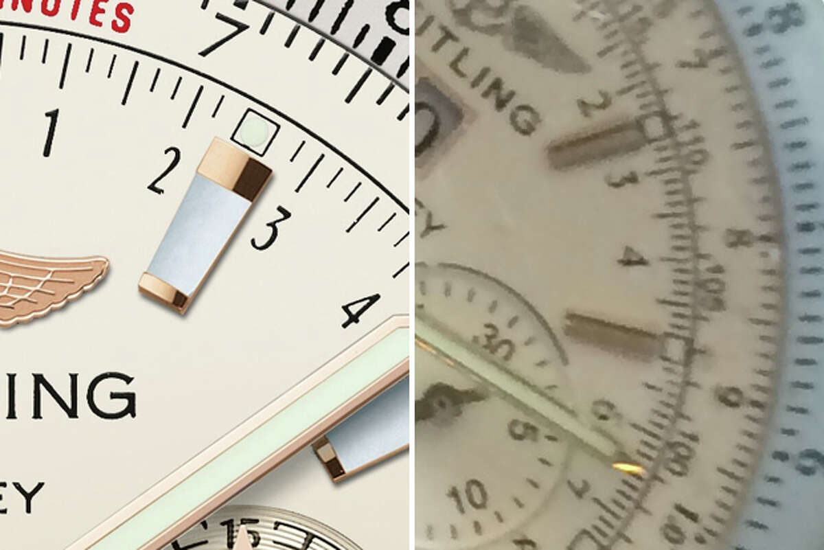 The markers ... The markers on the real Breitling watch are made of mother of peal and ruby. The markers on the counterfeit watch are made of metal. (Composite: photo at left courtesy Breitling for Bentley; photo at right courtesy Ben Baby/Denton Record-Chronicle)