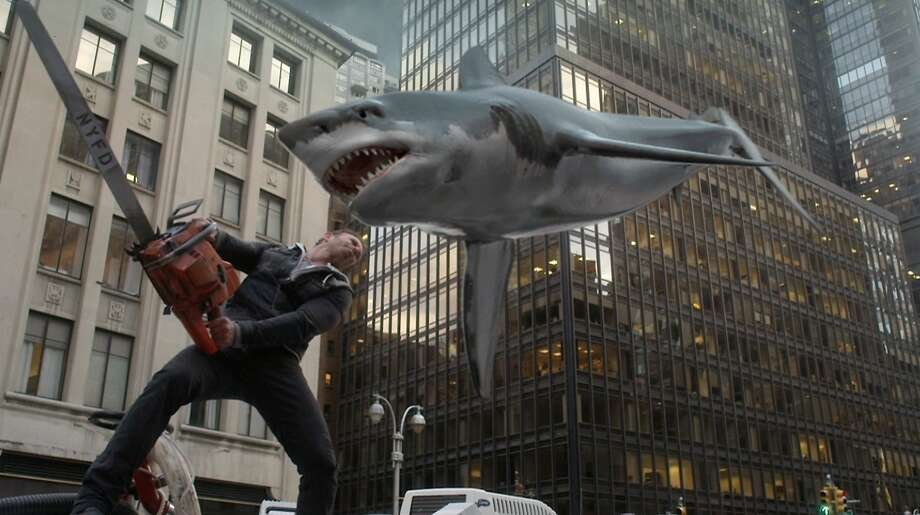 Ian Ziering plays Fin Shepard, who pilots a plane under severe shark attack to a safe landing, finds there's no safety from ferocious finned predators on the streets of New York. Photo: Syfy