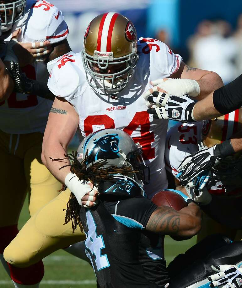 Despite being selected to his fifth Pro Bowl, defensive lineman Justin Smith played last season with a shoulder injury. He recorded 49 tackles, the lowest of his 13-year career. Photo: Jeff Siner, McClatchy-Tribune News Service