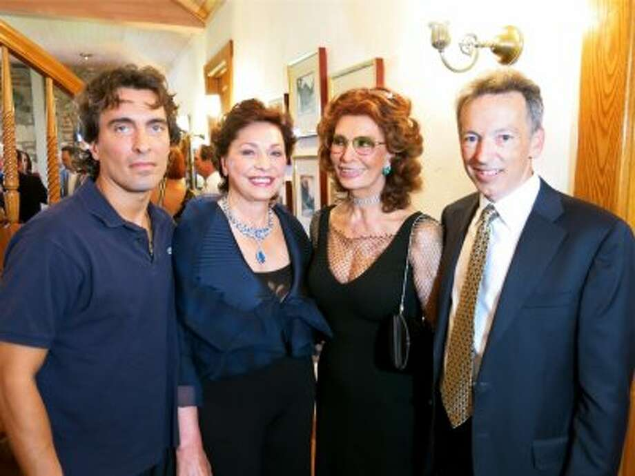 "Conductor Carlo Ponti, Jr. (at left) with Maria Manetti Shrem, his mom, Sophia Loren and Festival del Sole co-founder Rick Walker at Far Niente Winery during the ""Bella Italia!"" tribute to the Academy Award-winning actress. Photo: Catherine Bigelow"