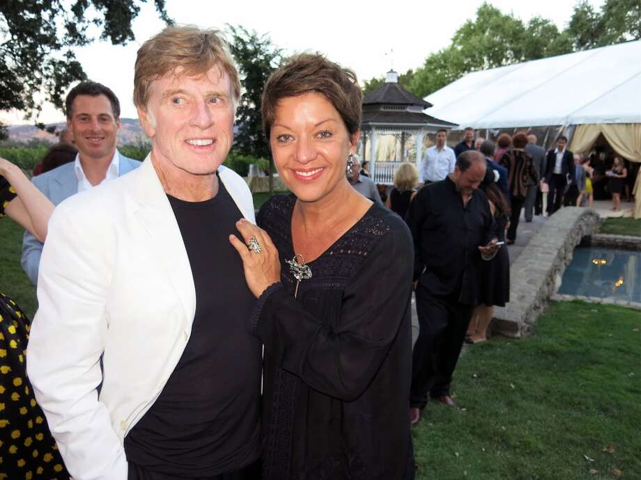 Actor Robert Redford, who toasted Loren, with his wife, artist Sibylle Szaggars. Photo: Catherine Bigelow