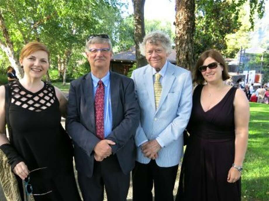 Opera singer Lisa Delan (left) with PentaToneClassics co-founder Job Maarse, composer Gordon Getty and Christina Gembacka. Photo: Catherine Bigelow