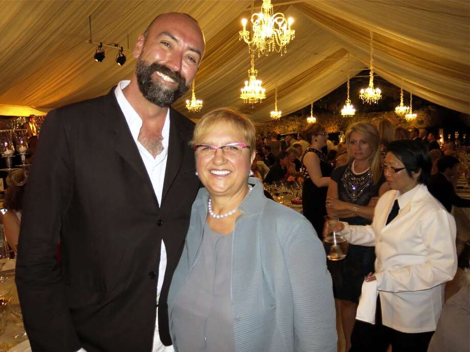 Italian food importer Rolando Beramendi with chef and cookbook author Lidia Bastianich,who cooked lunch for Loren the following day. Photo: Catherine Bigelow