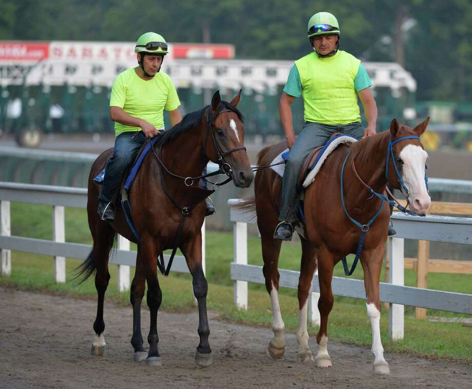 Possible Jim Dandy Stakes entrant Kid Cruz, left heads to the track early Wednesday morning July 23, 2014 for his exercise on the main track at the Saratoga Race Course in Saratoga Springs, N.Y.     (Skip Dickstein / Times Union) Photo: SKIP DICKSTEIN