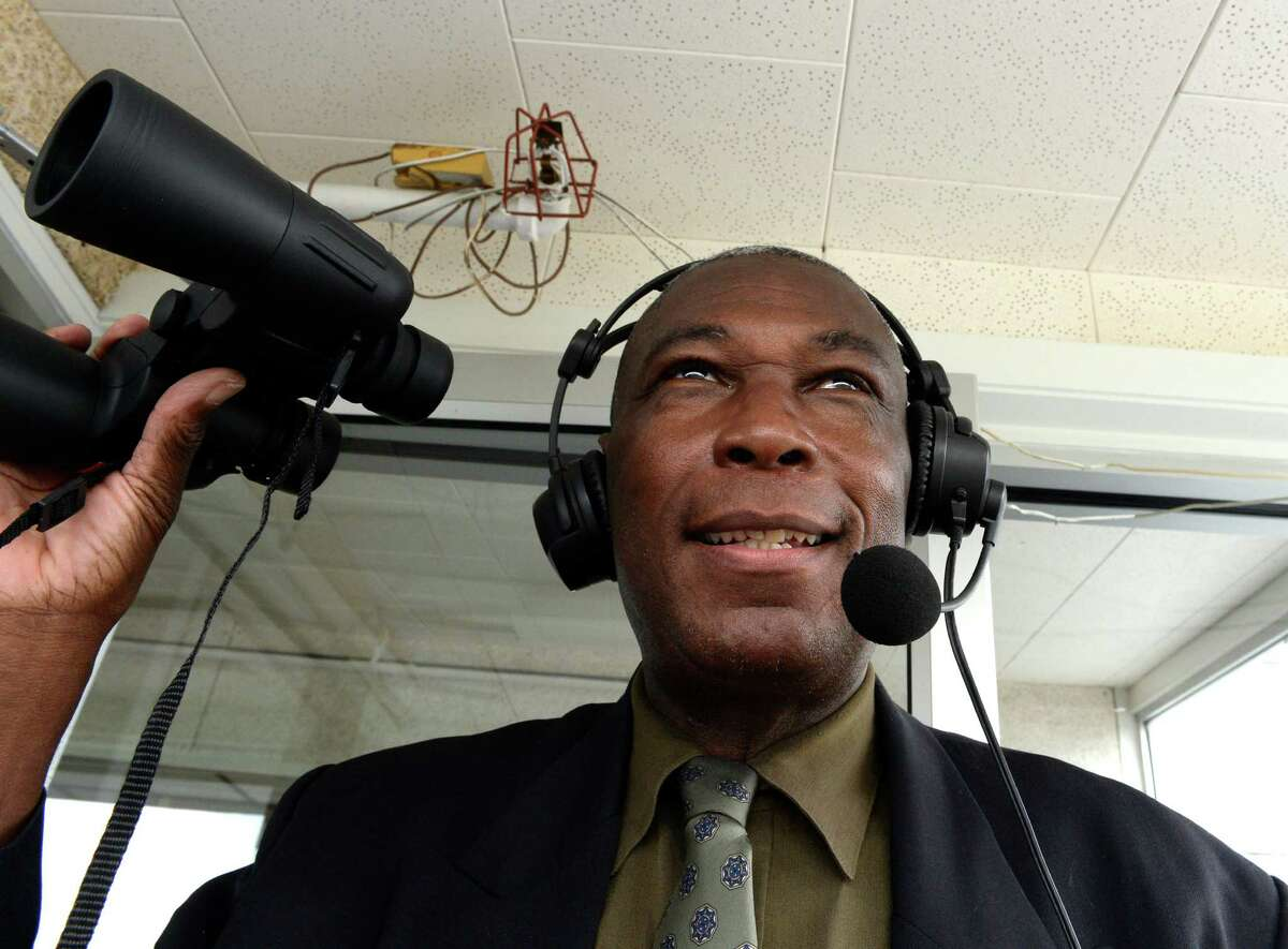 Luis Grandison prepares to make the historic first Spanish language call of a race Wednesday afternoon July 23, 2014, at the Saratoga Race Course in Saratoga Springs, N.Y. Grandison's call was the first Spanish language call made on the NYRA network and live on track while regular track announcer Tom Durkin stepped aside for the single race. This historic event was part of Latino-American Day at the track and this program was part of the International Heritage Series which will run during the entire meeting this year. (Skip Dickstein / Times Union)