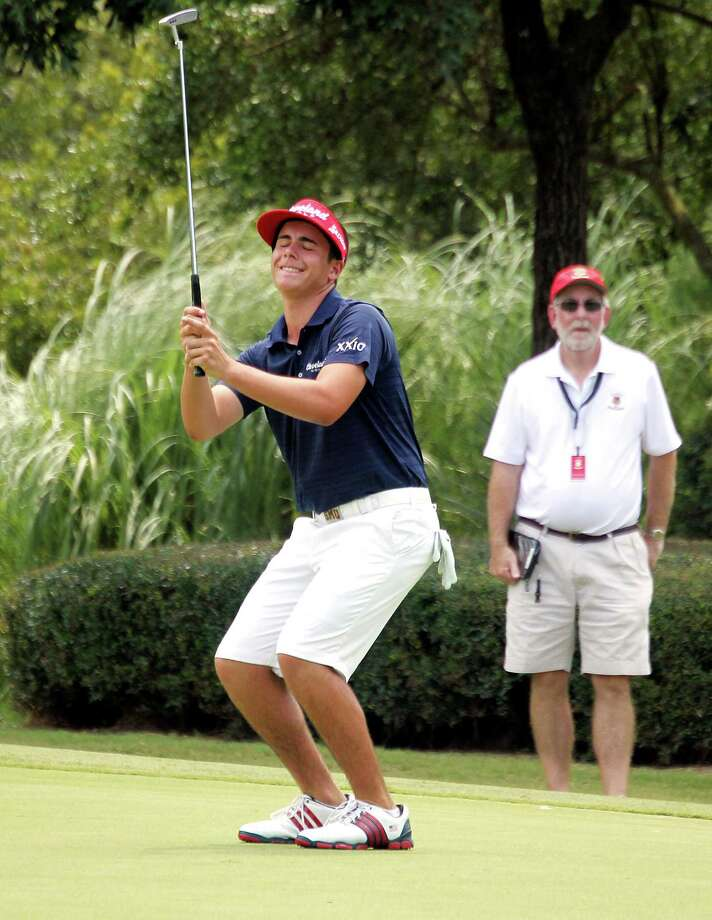 The topsy-turvy nature of match play was evident in the pairing involving Joshua Sedeno, who is dismayed by a missed putt on No. 15 but eventually prevailed against Trevor Ranton in a match that lasted 20 holes. Photo: Billy Smith II, Staff / © 2014 Houston Chronicle