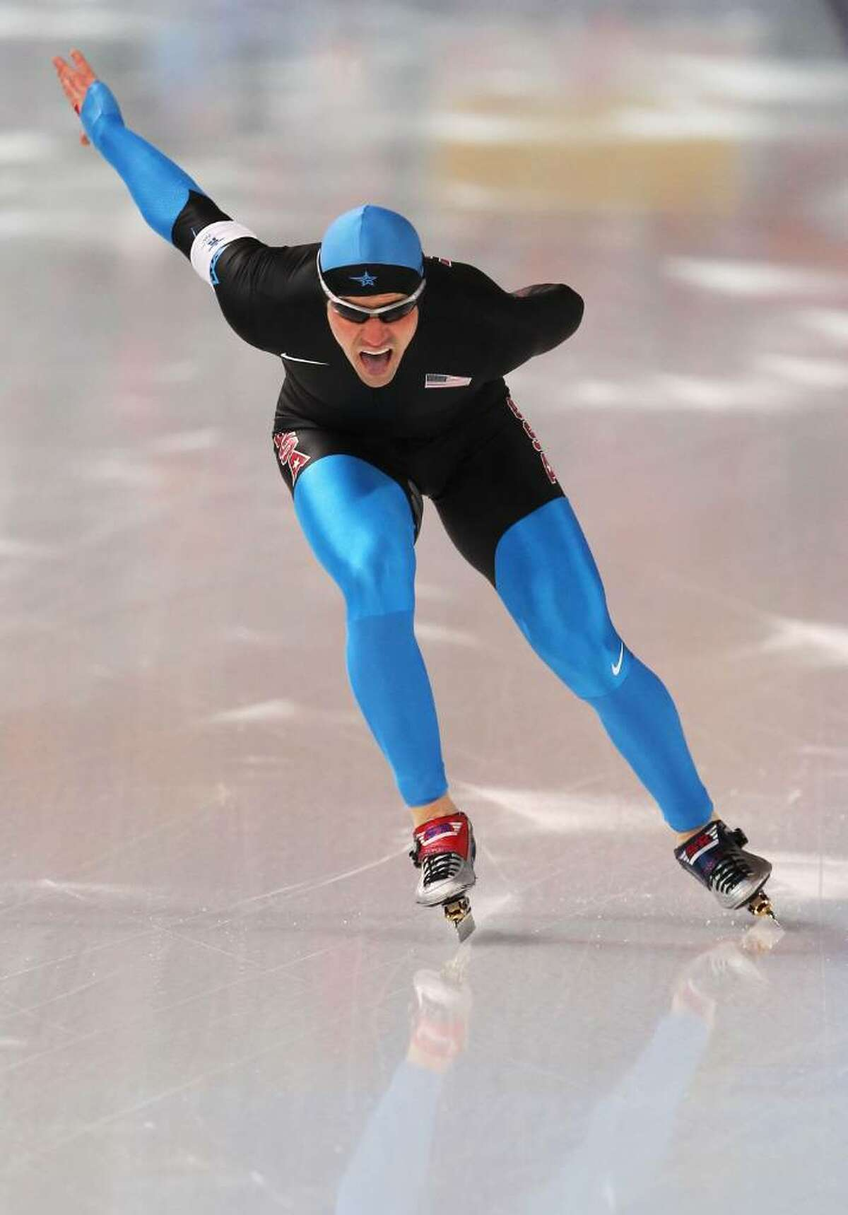 VANCOUVER, BC - FEBRUARY 17: Chad Hedrick of the United States during his men's speed skating 1000 m finals on day six of the Vancouver 2010 Winter Olympics at Richmond Olympic Oval on February 17, 2010 in Vancouver, Canada. (Photo by Jamie Squire/Getty Images) *** Local Caption *** Chad Hedrick