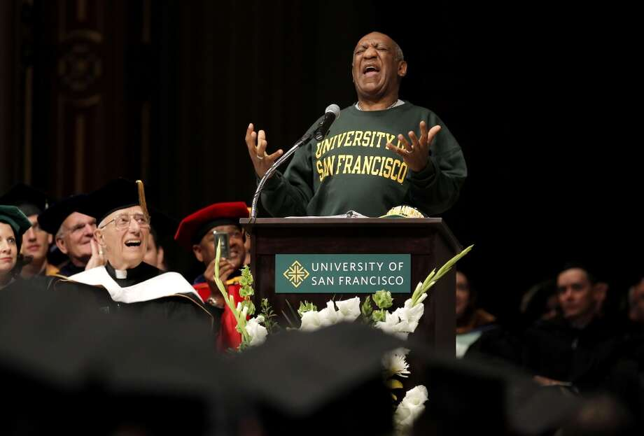 Comedian and educator, Bill Cosby, delivers the commencement speech to the graduating students of Arts and Social Sciences at the University of San Francisco, on Friday May 18, 2012, at St. Ignatius Church in San Francisco, Ca. Comedian and educator, Bill Cosby, delivers the commencement speech to the graduating students of Arts and Social Sciences at the University of San Francisco, on Friday May 18, 2012, at  St. Ignatius Church in San Francisco,Ca.   MANDATORY CREDIT FOR PHOTOG AND SAN FRANCISCO CHRONICLE/NO SALES-MAGS OUT Photo: Michael Macor
