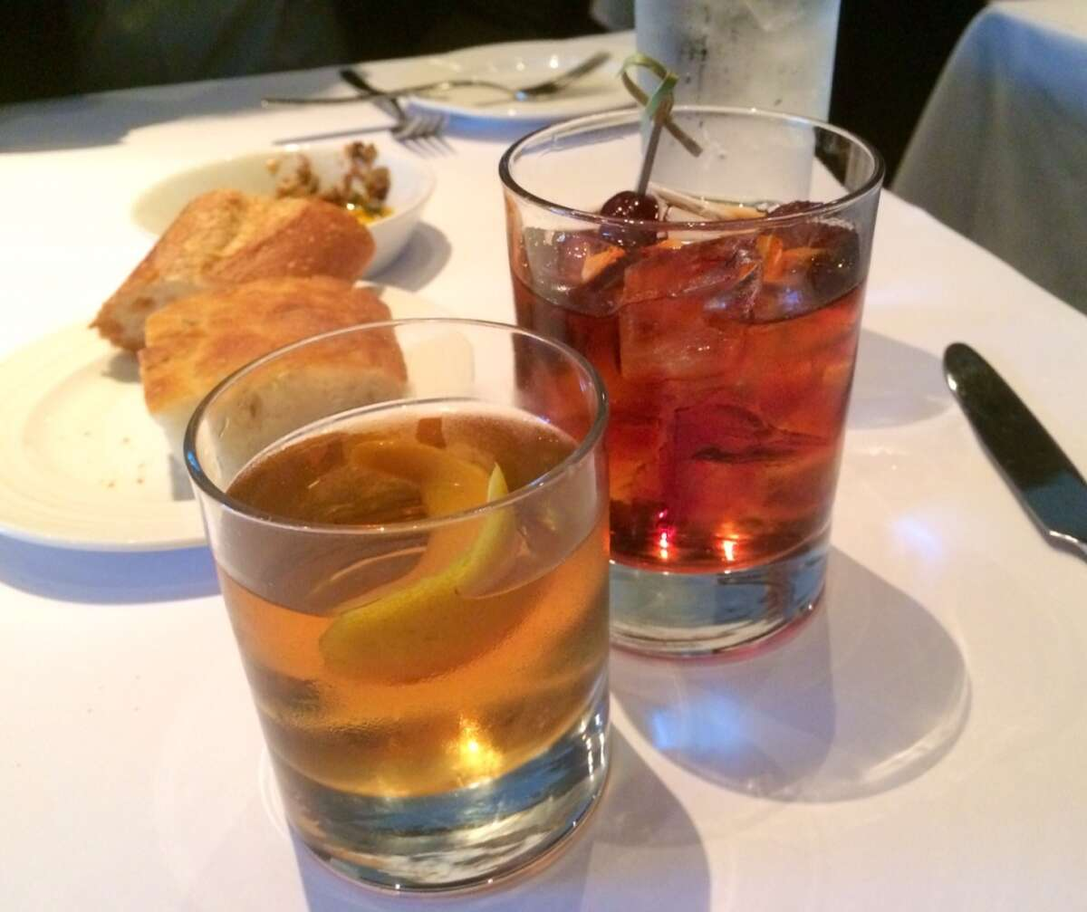 Cocktails veered toward the sweet side. Here is the Tom Waits ($12.75) and the Garibaldis Manhattan ($12.25).