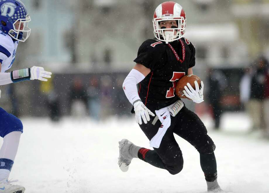 New Canaan's Alex LaPolice controls the ball during the Class L state championship game against Darien on Saturday, Dec. 14, 2013 at Boyle Stadium in Stamford. Photo: Autumn Driscoll / Connecticut Post