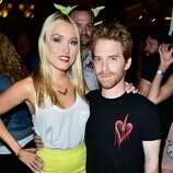 Actors Clare Grant and Seth Green attend Hitfix and Lucasfilm's Comic-Con Kick off party during Comic-Con International 2014 at Hotel Solamar on July 23, 2014 in San Diego, California.