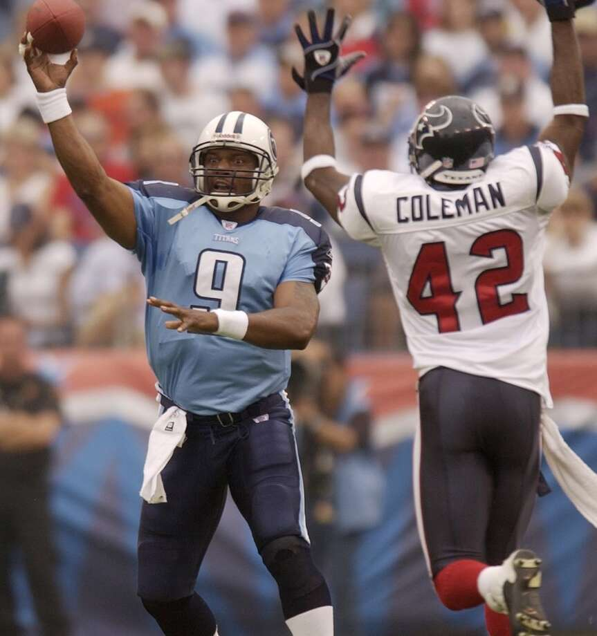 Titans 38, Texans 17 Oct. 12, 2003Steve McNair passed for 421 yards and three touchdowns, besting a 371-yard passing day from David Carr, as the former Oilers remained unbeaten against the Texans. Photo: Christobal Perez, Chronicle