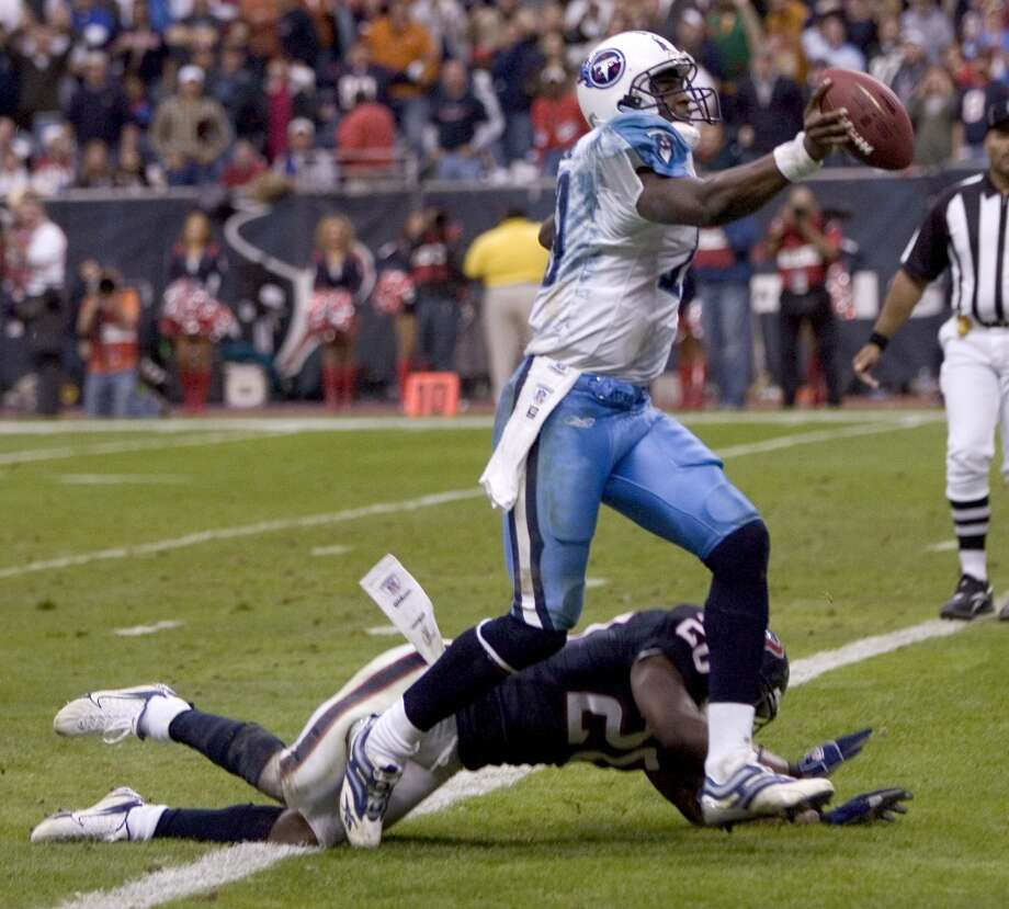 Titans 26, Texans 20 (OT) Dec. 10, 2006  In one of the more memorable games in the AFC South rivalry, Vince Young once again showed the Texans what they missed out on in the draft by ending the game in overtime with a 39-yard TD scamper. Photo: BRETT COOMER, HOUSTON CHRONICLE