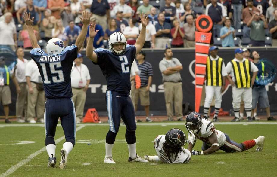 Titans 38, Texans 36 Oct. 21, 2007  Another memorable matchup as the Texans take a late 36-35 lead with :53 remaining in the game with backup QB Sage Rosenfels' (Matt Schaub was injured in the game) 53-yard pass to Andre Davis, only to allow the Titans to march down the field and kick a field goal as time expires for the win. Photo: Brett Coomer, Houston Chronicle