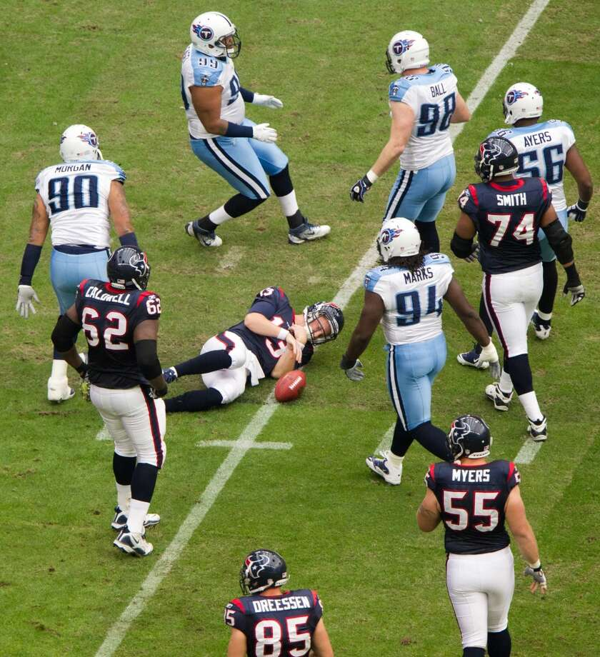 Titans 23, Texans 22 Jan. 1, 2012  With the playoffs locked up in the final week of the regular season, Gary Kubiak chose to go for two when the Texans scored with 14 seconds left in the game. The conversion failed and the Titans won. Photo: Smiley N. Pool, Houston Chronicle