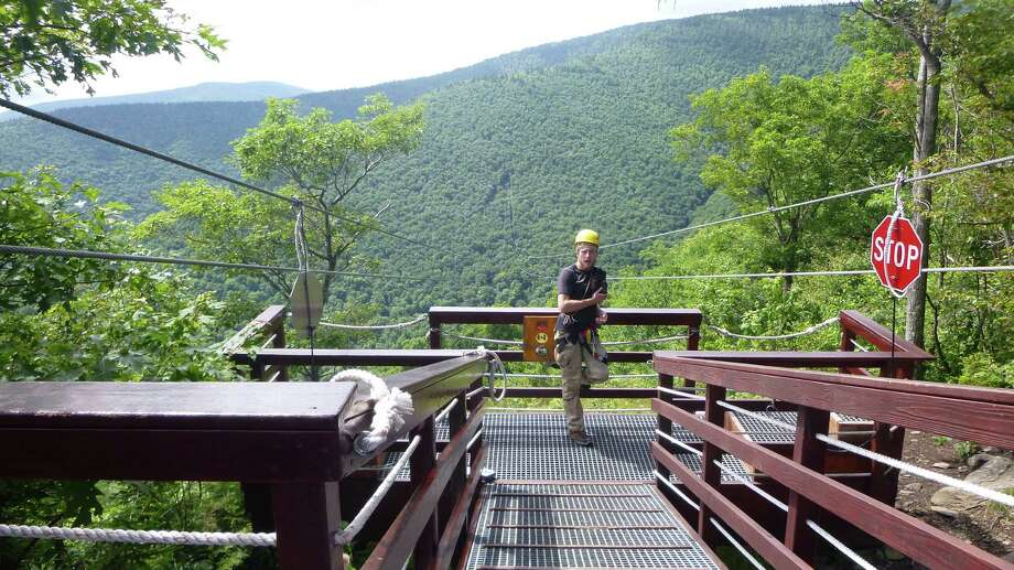 Zip-line  at Hunter Mountain in the Catskills. Photo by Janie Frank