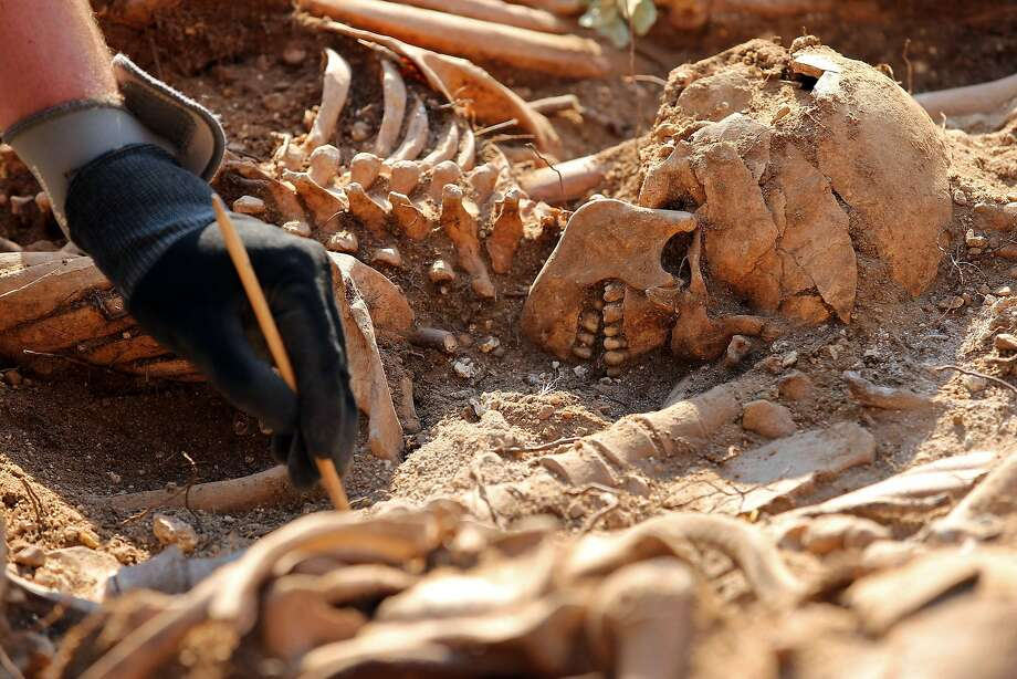 Spanish Civil War atrocity?An archaeologist exhumes the remains of a body buried in a mass grave in the 