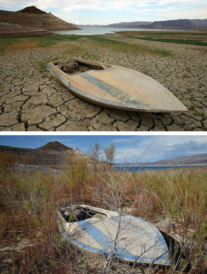 Shrinking Lake Mead: In a 2007 photo (top), a mud-covered boat sits on recently dried lake bottom in the Lake Mead National Recreation Area, Nevada. The same boat, surrounded by shrubs, is shown about 10 days ago in the second photo. Last week, the level of North America's largest man-made reservoir dropped to the the lowest it's been since the Hoover Dam was built in the 1930s. Photo: Ethan Miller, Getty Images