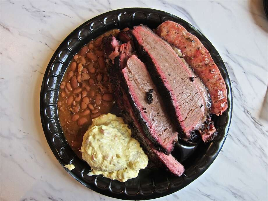 Killen's BBQCuisine: BarbecueDish: Three-meat plate with brisket, pork ribs, and link.Address: 3613 E. Broadway St., Pearland, TX 77581Phone: (281) 485-2272Website: killensbarbecue.com Photo: Alison Cook