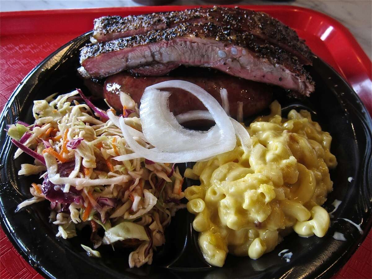 Killen's Texas Barbecue Cuisine: BarbecueDish: Three meat plate with brisket, pork ribs and jalapeño sausage linkEntree price: $ Where: 3613 E Broadway St. in Pearland Phone: 281-485-2272 Website: killensbarbecue.com