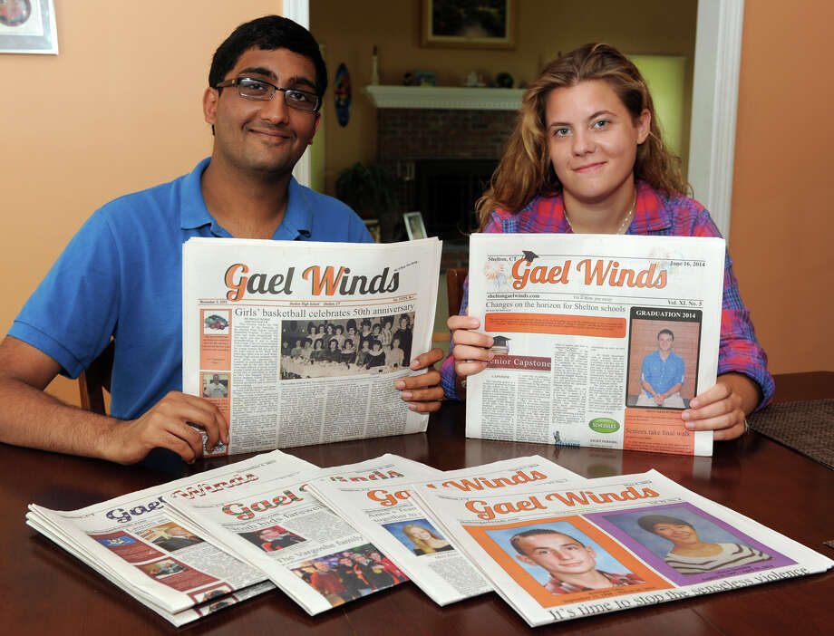 Neel Swamy and Alexandra Peksa are recent graduates of Shelton High School, and were editors on the staff of the Gael Winds, the school newspaper, July 24, 2014. They are among students who say their work for the paper was heavily censored by Headmaster Beth Smith. Photo: Ned Gerard / Connecticut Post