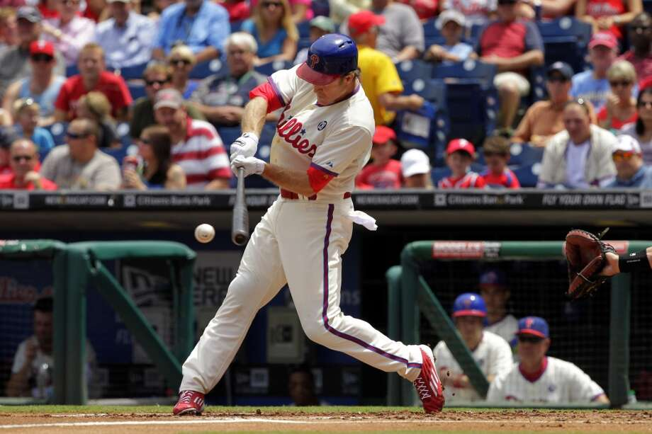 Chase Utley (26) of the Philadelphia Phillies bats in the first inning during a game against the San Francisco Giants at Citizens Bank Park on July 24, 2014 in Philadelphia, Pennsylvania. The Phillies won 2-1. Photo: Hunter Martin, Getty Images