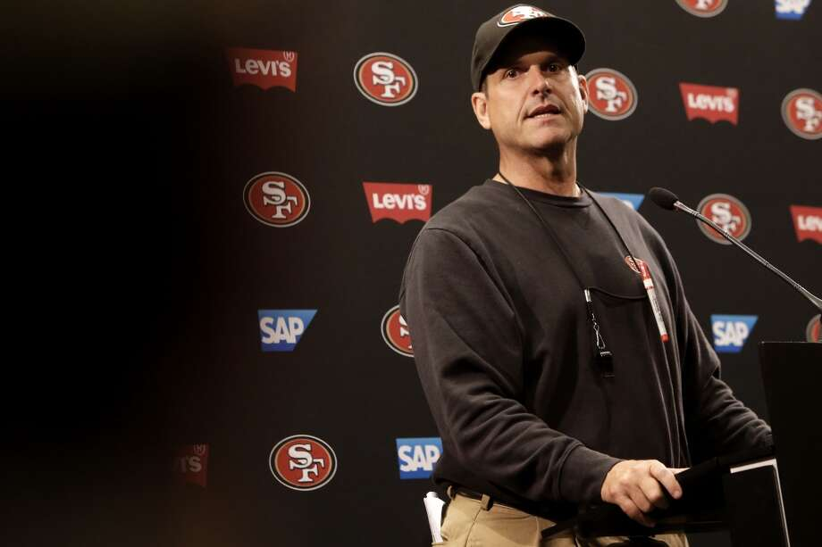 San Francisco 49ers head coach Jim Harbaugh holds his first press conference in the new Levi's Stadium during training camp as the team prepares for the 2014 season in Santa Clara, Calif., on Thursday July 24, 2014. Photo: Michael Macor, The Chronicle