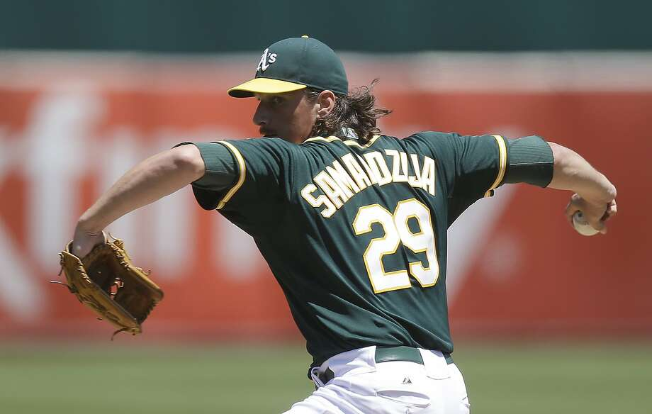 Oakland Athletics' Jeff Samardzija works against the Houston Astros in the first inning of a baseball game Thursday, July 24, 2014, in Oakland, Calif. (AP Photo) Photo: Associated Press