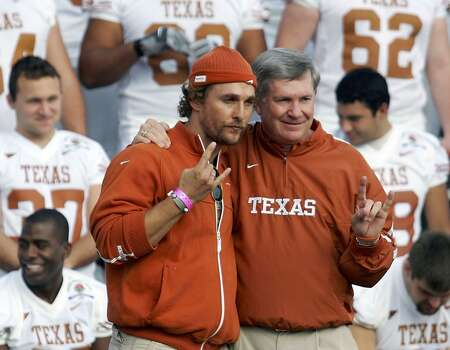 Actor Matthew McConaughey poses with Mack Brown during a team photo at the Rose Bowl. McConaughey graduated from UT-Austin's film school, which was just ranked the 10th best in the nation.Click through the slideshow to see some of the famous actors and directors who graduated from the school. Photo: Harry How, Getty Images