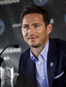 Frank Lampard, of England, speaks at a news conference where he was introduced as a member of the MLS expansion club New York City FC,  Thursday, July 24, 2014, in New York. (AP Photo/Craig Ruttle)