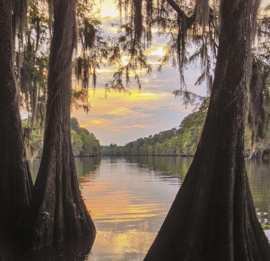 This iPhone photo at Caddo Lake features three elements of landscape composition — cypress trees (foreground), reflections (middle ground) and trees/clouds (background).