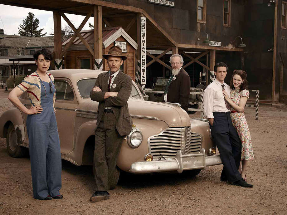 "Olivia Williams (from left), John Benjamin Hickey, Daniel Stern, Ashley Zukerman and Rachel Brosnahan star in ""Manhattan,"" a new series about the scientists at Los Alamos who were charged with building the first atomic bomb. Photo: WGN / San Antonio Express-News"