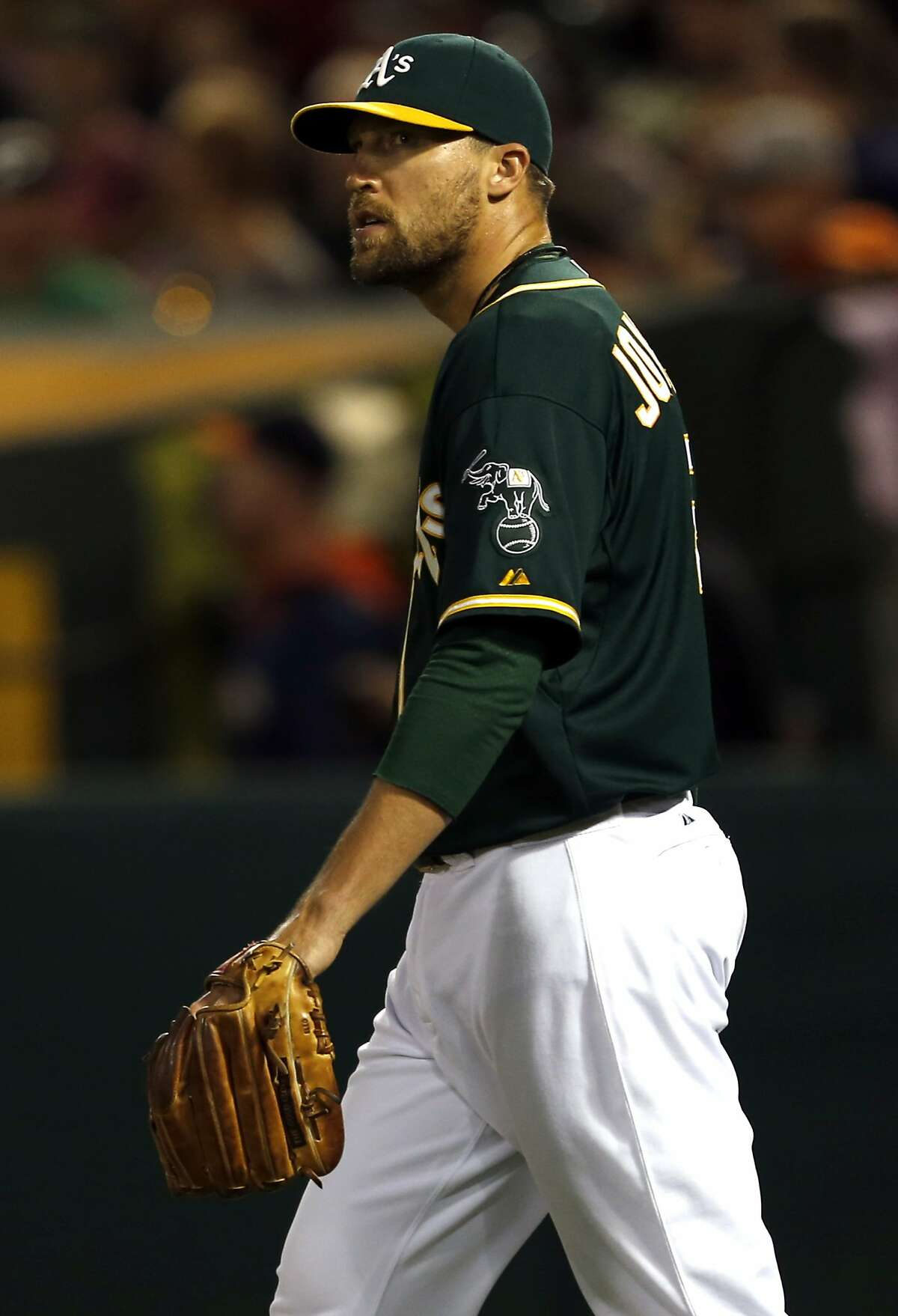 Oakland Athletics' Jim Johnson while giving up 4 runs without recording an out in 8th inning during A's 9-7 win over Houston Astros during MLB game at O.co Coliseum in Oakland, Calif. on Wednesday, July 23, 2014.
