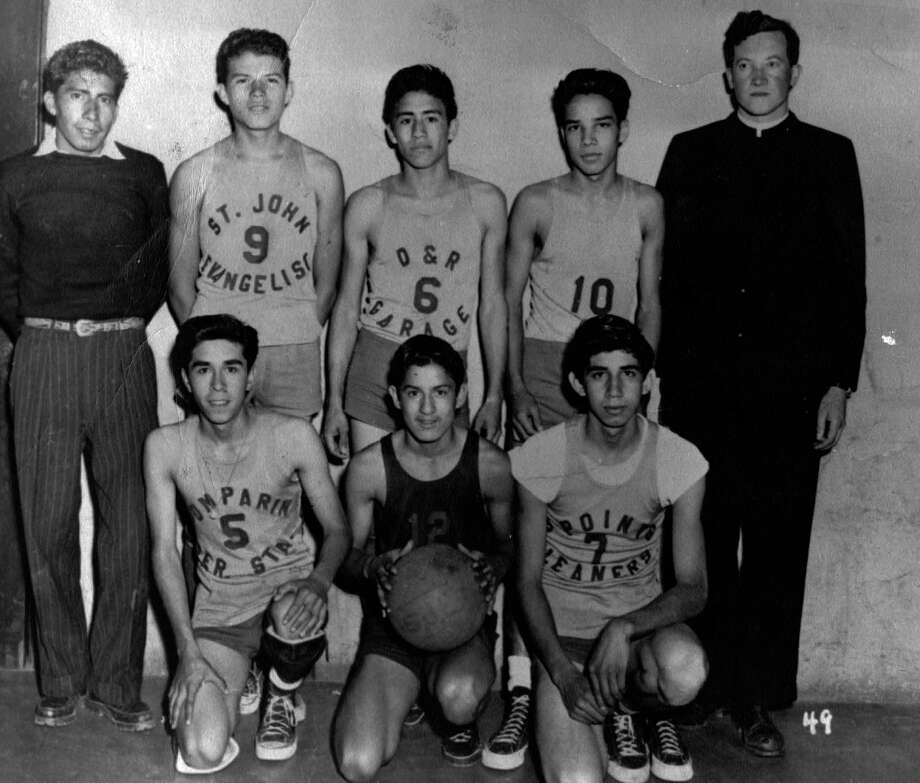 These starters on the San Antonio CYO All-Stars team were joined by younger CYO players when they played — and beat — the Houston CYO All-Stars in 1951.  Sam Cortez is No. 6. Photo: Courtesy Sam Cortez / San Antonio Express-News