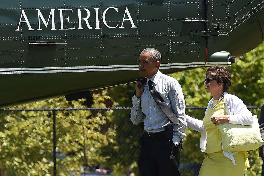 President Obama and adviser Valerie Jarrett in Los Altos Hills Wednesday. Photo: Jewel Samad, AFP/Getty Images