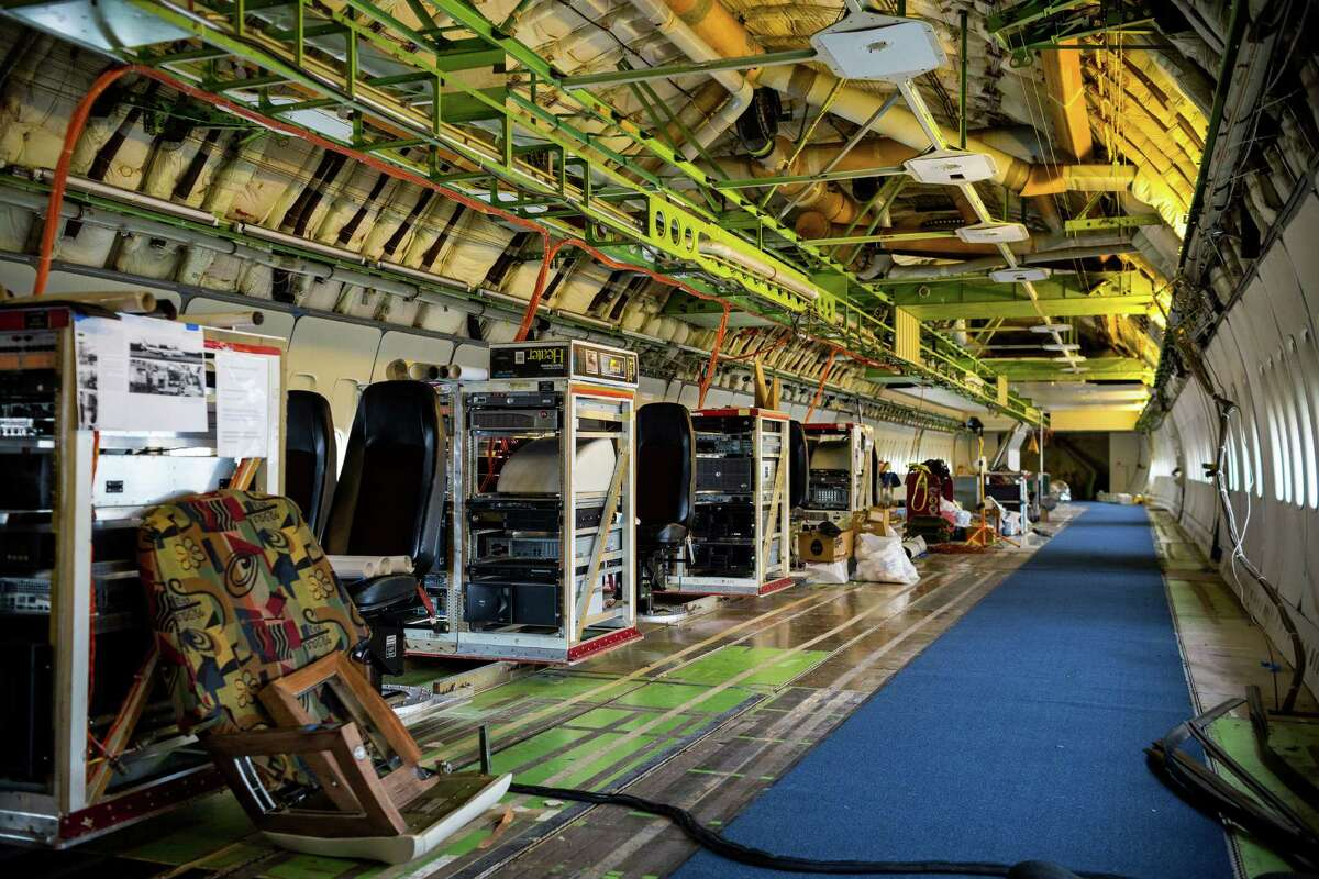 Lines of flight equipment within the original Boeing 747 prototype Thursday, July 24, 2014, at The Museum of Flight in Seattle, Wash.