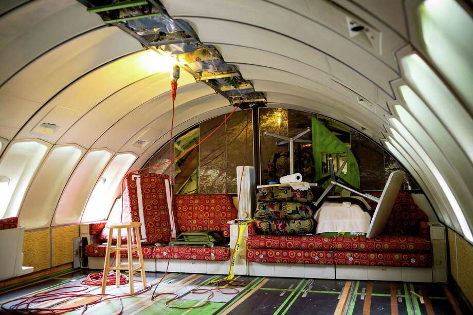 The Museum of Flight restored the upper-deck lounge of the original Boeing 747 prototype using the last remaining upholstery of the original print from the manufacturer. It's shown on Thursday, July 24, 2014, at The Museum of Flight in Seattle, Wash. Photo: JORDAN STEAD, SEATTLEPI.COM / SEATTLEPI.COM