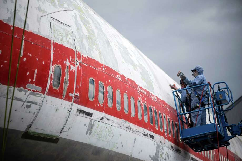 Technicians work to restore the interior and exterior of the original Boeing 747 prototype following decades of outdoor service and display since its maiden flight in 1969, photographed here on Thursday, July 24, 2014, at The Museum of Flight in Seattle, Wash. Photo: JORDAN STEAD, SEATTLEPI.COM / SEATTLEPI.COM
