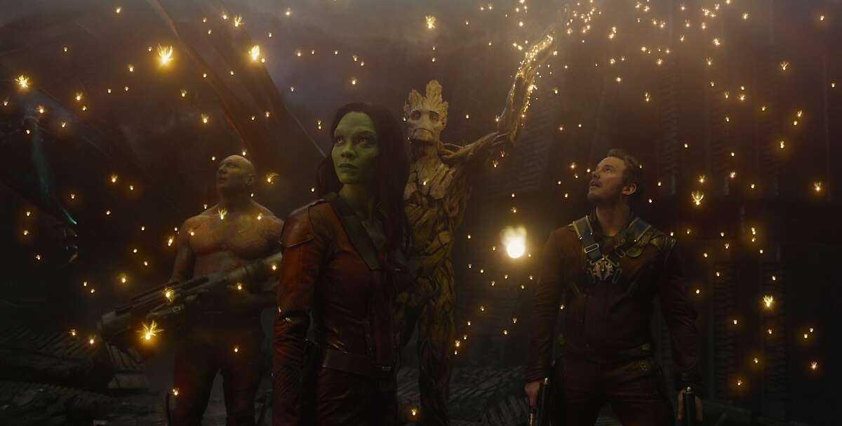 Marvel's Guardians Of The Galaxy L to R: Drax the Destroyer (Dave Bautista), Gamora (Zoe Saldana), Groot (voiced by Vin Diesel) and Peter Quill/Star-Lord (Chris Pratt)