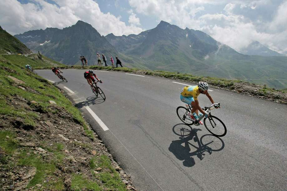 Stage winner and overall leader Vincenzo Nibali of Italy speeds down Tourmalet Pass in the Pyrenees during the 18th stage of the Tour de France on Thursday. Photo: Christophe Ena, STF / AP