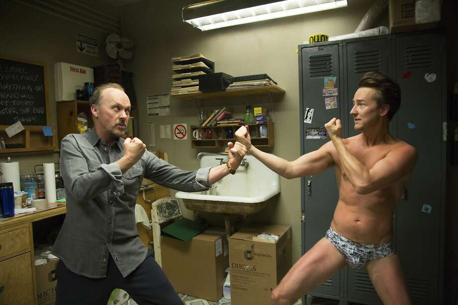 "Michael Keaton (left), an actor trying to get beyond a superhero role, squares off with Edward Norton in ""Birdman or the Unexpected Virtue of Ignorance."" Photo: Alison Rosa, Associated Press"