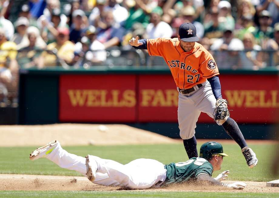 Josh Donaldson slides safely back into first base under the tag of Jose Altuve. Photo: Ezra Shaw, Getty Images