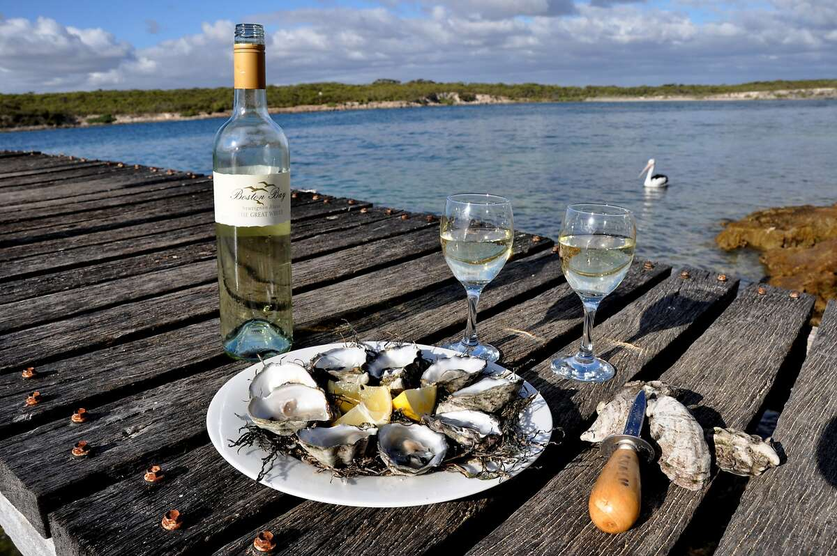 Oysters with a view in Coffin Bay, on the southern end of the Eyre Peninsula. The peninsula is both the bread basket and the seafood net for most of Australia.