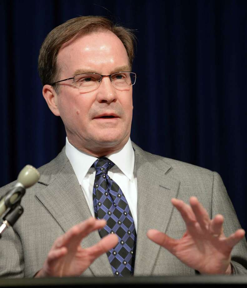 Michigan Attorney General Bill Schuette speaks during a news conference in Lansing, Mich.m Tuesday, April 22, 2014, about the United States Supreme Court's decision regarding the state's Affirmative Action law involving college admissions.  (AP Photo/The State Journal, Greg DeRuiter)  NO SALES Photo: Greg DeRuiter, MBR / The State Journal