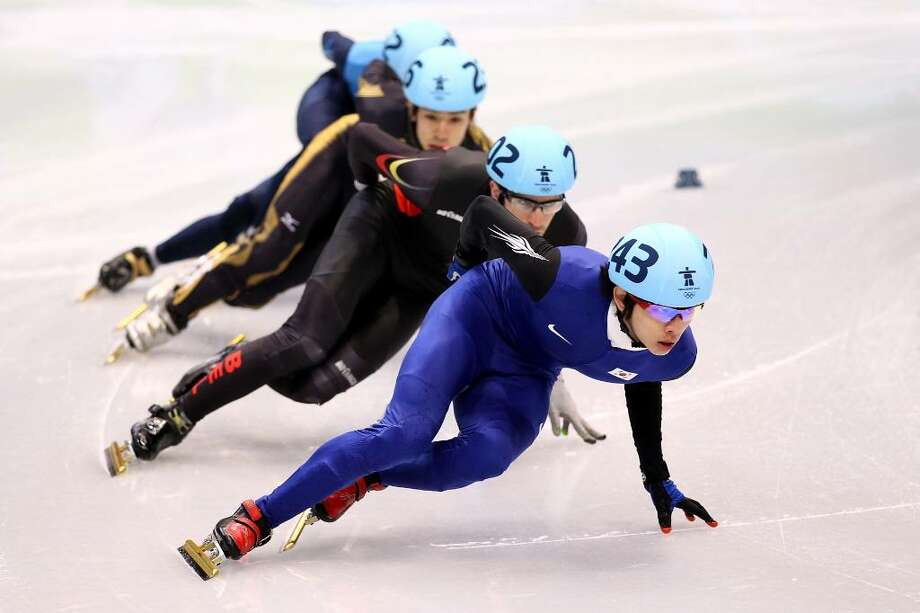 VANCOUVER, BC - FEBRUARY 17:  (R-L) Lee Jung-Su of South Korea leads Pieter Gysel of Belgium, Takahiro Fujimoto of Japan and J.R. Celski of the United States in the Short Track Speed Skating Men's 1,000 m on day 6 of the Vancouver 2010 Winter Olympics at Pacific Coliseum on February 17, 2010 in Vancouver, Canada.  (Photo by Alex Livesey/Getty Images) *** Local Caption *** Takahiro Fujimoto;J.R. Celski;Pieter Gysel;Lee Jung-Su Photo: Alex Livesey, Getty Images / 2010 Getty Images