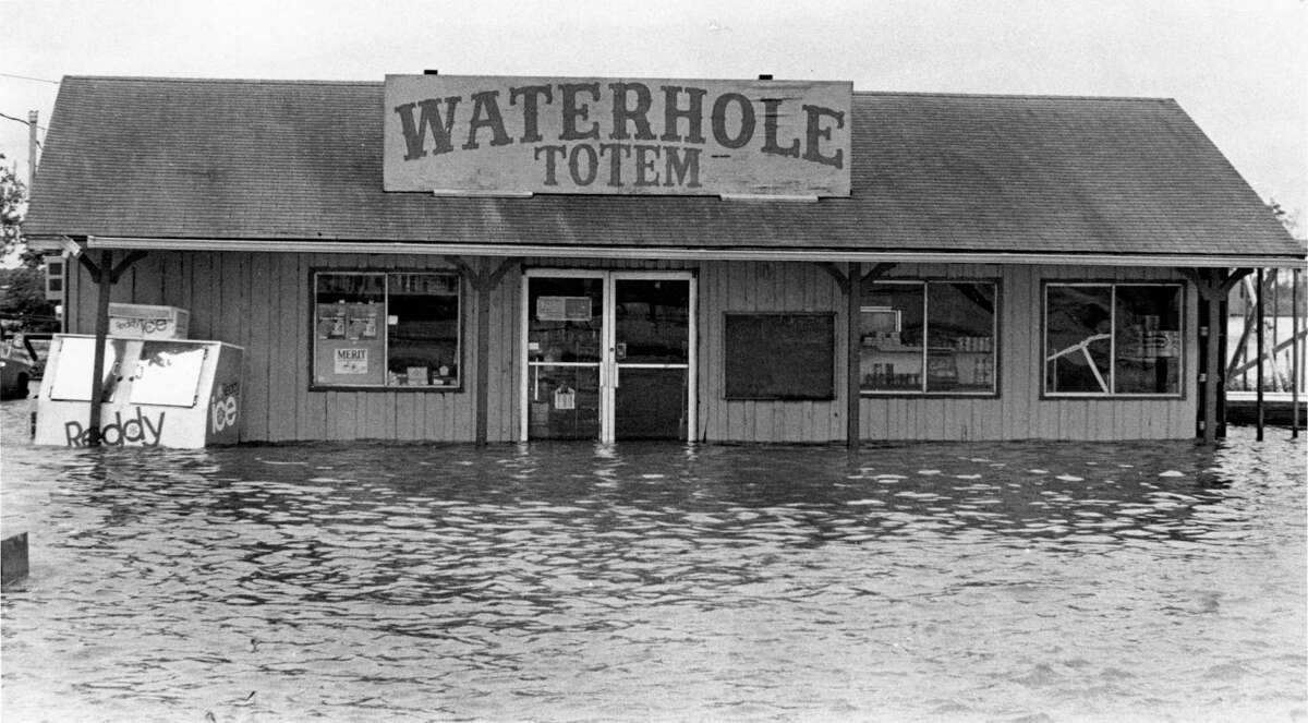 Photos: Tropical Storm Claudette's historic floods The Waterhole Totem convenience store was among hundreds of businesses temporarily shut down after Tropical Storm Claudette flooded the areas around Pearland.(07/26/1979)
