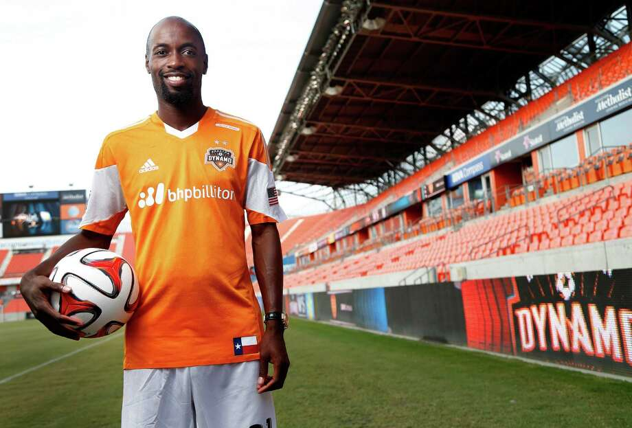 Houston Dynamo's new player DaMarcus Beasley poses for a portrait after a press conference to introduce him at the BBVA Compass Stadium, Thursday, July 24, 2014, in Houston. Photo: Karen Warren, Houston Chronicle / © 2014 Houston Chronicle
